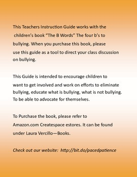 """The """"B"""" Words - 4 B's to Bullying - Instruction Guide"""