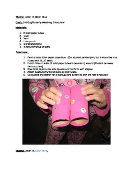 "The ""B"" says ""buh"": Lesson Plan/Binocular Craft/Pre-K Less"