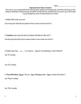 The BEST Grammar Worksheet (2-Day Lesson): Slaying Grammar