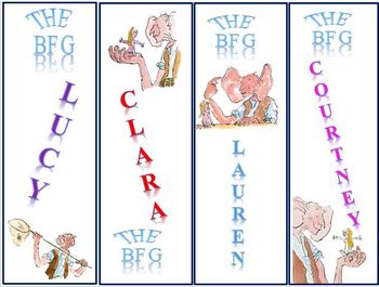 The BFG Bookmarks- customize for your class!!