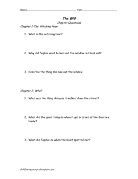 The BFG Comprehension Questions and Activities