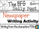 The BFG - Newspaper Writing Activity - W.3.3 and W.3.3b