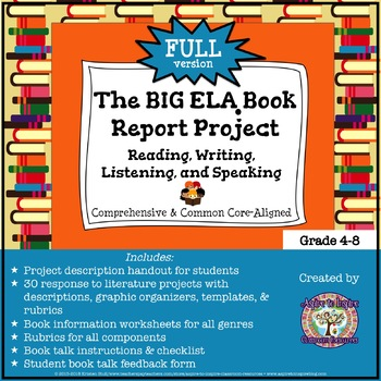 The BIG ELA Common Core Book Report Project FULL: Read/Wri