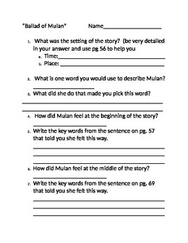 The Ballad of Mulan CC Based questions Grade 3