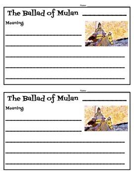 The Ballad of Mulan by Song Nan Zhang Activities