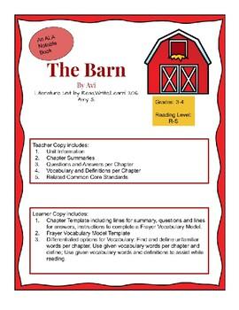 The Barn by Avi; Literature Unit
