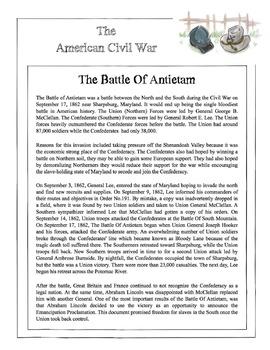 Civil War - The Battle Of Antietam Content Sheet, Workshee