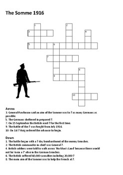The Battle of the Somme Cross Word- World War One