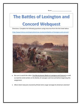 The Battles of Lexington and Concord- Webquest and Video A