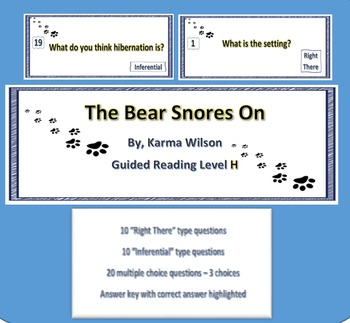 """The Bear Snores On"" - 20 Reading comprehension task cards"