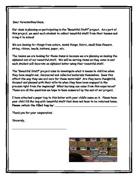 """The """"Beautiful Stuff Project"""" (letter to go home explainin"""