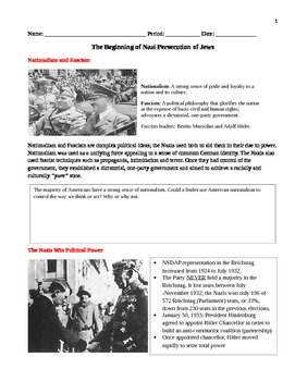The Beginning of Nazi Persecution of Jews