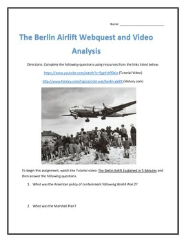 The Berlin Airlift- Webquest and Video Analysis with Key