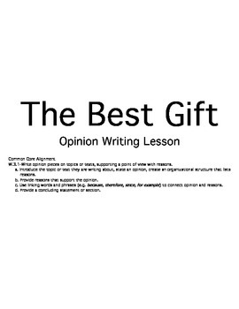 The Best Gift Opinion Writing Activity