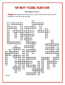 The Best School Year Ever: 50-word Prereading Crossword—Gr