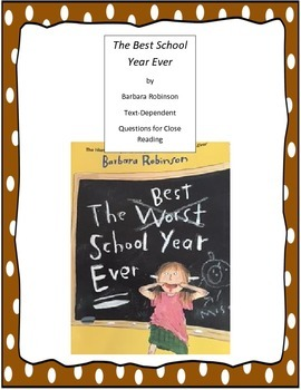 The Best School Year Ever Questions for Close Reading