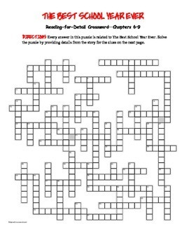 The Best School Year Ever: Reading for Detail Crossword Ch