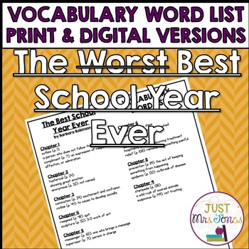 The Best School Year Ever Vocabulary Word List