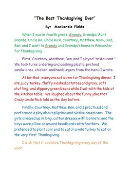 The Best Thanksgiving Ever Personal Narrative Sample Teach