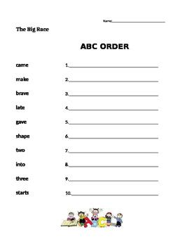 The Big Race - Journeys 1st Grade- ABC Order