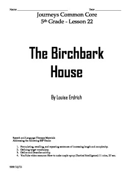 Journeys Common Core 5th - The Birchbark House Supplementa