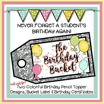 The Birthday Bucket: Birthday Pencil Toppers & Birthday Ce