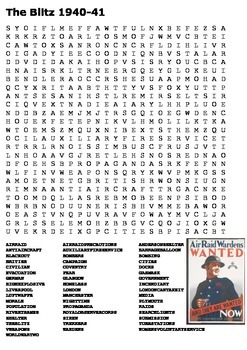 The Blitz World War Two Word Search