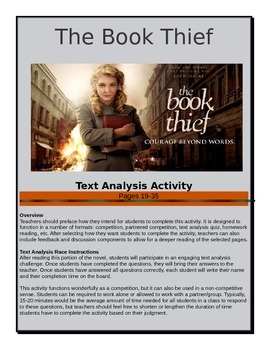 The Book Thief - Text Analysis Race - Pages 19-35 - Common