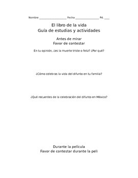 The  Book of Life: Questions and Activity Packet (Spanish