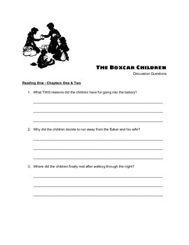 """The Boxcar Children"" Discussion Questions and QUIZ"