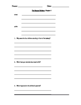 The Boxcar Children Vocabulary and Comprehension Questions