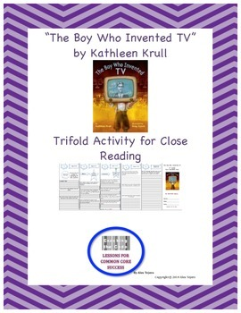 """The Boy Who Invented TV"" Trifold Activity Reading Wonders"