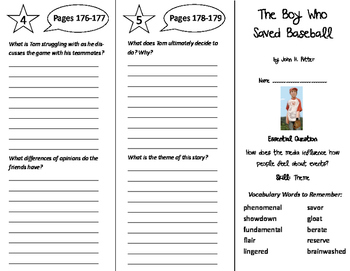The Boy Who Saved Baseball Trifold - Journeys 6th Grade Un