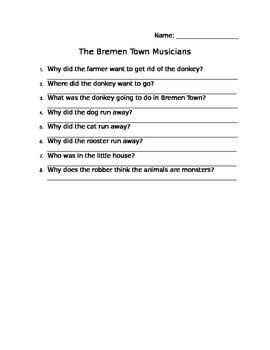 The Bremen Town Musicians Comprehension Sheet