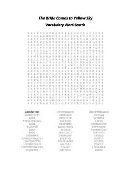 The Bride Comes to Yellow Sky Vocabulary Word Search