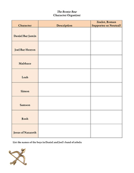 The Bronze Bow Character Organizer