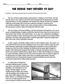The Brooklyn Bridge ELA Informational Reading Test Prep Passage