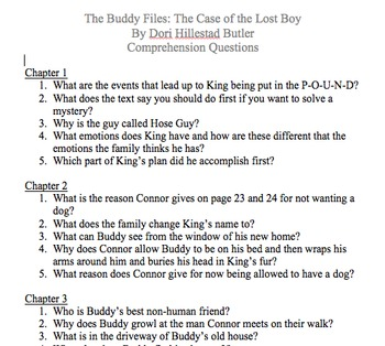 The Buddy Files: The Case of the Lost Boy - Comprehension