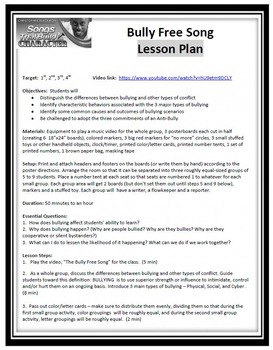 The Bully Free Song Classroom Anti-bullying Lesson Plan