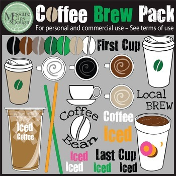 The COFFEE BUZZ BUZZ Clip Art Brew Pack {Messare Clips and