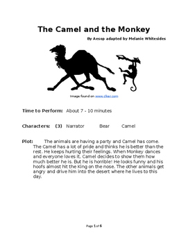 The Camel and the Monkey - Small Group Reader's Theater by Aesop