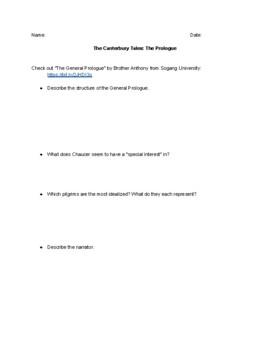 The Canterbury Tales Prologue Webquest