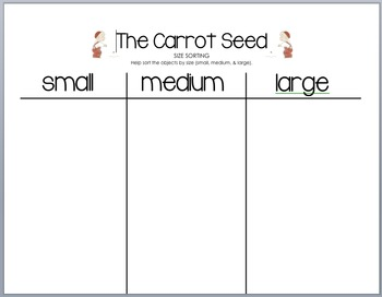 The Carrot Seed - Sorting by Size Activity