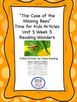 """""""The Case of the Missing Bees"""" Trifold Activity Reading Wo"""