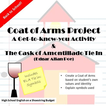 Back to School ELA Activity Coat of Arms + Cask of Amontil