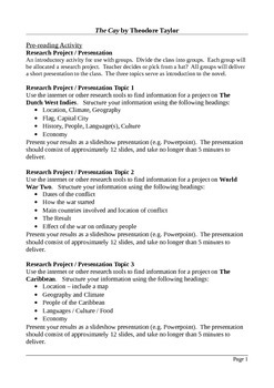 The Cay - Creative and Functional Writing Assignments