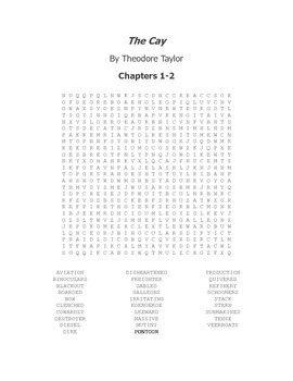 The Cay Vocabulary Word Search Packet Chapters 1-19