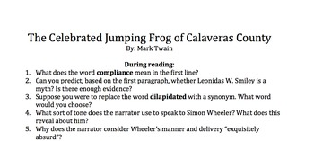 The Celebrated Jumping Frog of Calaveras County Questions