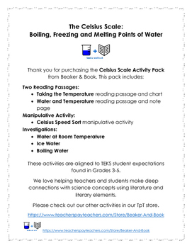The Celsius Scale Activity Pack: Boiling, Freezing, Melting