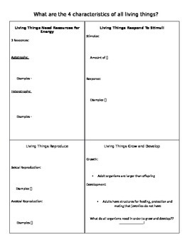 The Characteristics of Living Things Notes Guide
